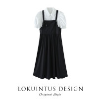 Dress Summer 2021 Black (collection and purchase priority) S M L longuette Fake two pieces Short sleeve commute Crew neck High waist Solid color Socket A-line skirt routine camisole 18-24 years old Type A Lokuintus / Li kuntus lady Splicing More than 95% other other Other 100%