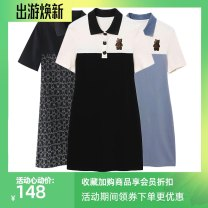 Dress Summer 2021 Elegant print shows thin black and blue S M L XL Mid length dress singleton  Short sleeve Sweet Polo collar Loose waist Cartoon animation Socket Pencil skirt routine Others 25-29 years old Type H Lokuintus / Li kuntus printing A6FAB2A10C9 More than 95% cotton college