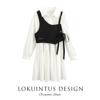 Dress Spring 2021 Temperament white S M L Mid length dress Two piece set Long sleeves commute Polo collar High waist Solid color Socket A-line skirt routine 18-24 years old Type A Lokuintus / Li kuntus lady C3FAB1201 More than 95% other cotton Cotton 100% Pure e-commerce (online only)