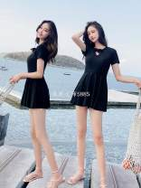 one piece  other Skirt one piece With chest pad without steel support Spandex, polyester, others female Short sleeve Casual swimsuit Lotus leaf edge