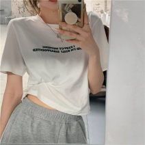 T-shirt Grey, white Average size Summer 2021 Short sleeve easy Regular routine commute cotton 86% (inclusive) -95% (inclusive) 18-24 years old Korean version Solid color