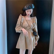 Dress See description Camel color, support for seven days no reason to return S,M,L Long sleeves square neck Solid color See description 2021#
