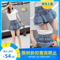 skirt Spring 2021 S,M,L,XL,2XL White, light blue, dark blue Short skirt High waist Fluffy skirt 30% and below printing