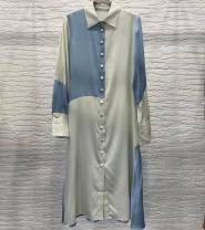 Dress Spring 2021 Picture color S,M,L longuette singleton  Long sleeves commute Polo collar Loose waist Solid color Single breasted A-line skirt routine 25-29 years old Type H Button polyester fiber