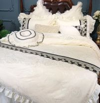 Bedding Set / four piece set / multi piece set Others other Solid color 200x95 Dream after dream cotton 4 pieces 60 Long staple cotton set. Black lace (bed surface single layer), long staple cotton set. Black lace (bed surface with cotton) Bed skirt Qualified products Princess style 100% cotton