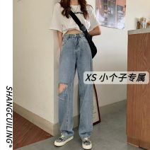 Jeans Summer 2021 Blue black S M L XS trousers High waist Straight pants routine 18-24 years old washing other Shang Cuiling 96% and above Other 100% Pure e-commerce (online only)