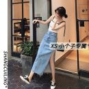 skirt Summer 2021 L S M XS blue Mid length dress commute High waist A-line skirt Solid color Type A 18-24 years old More than 95% other Shang Cuiling other Simplicity Other 100% Pure e-commerce (online only)