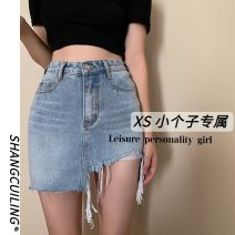 skirt Summer 2021 S M L XS blue Short skirt commute Natural waist Denim skirt Solid color Type A 18-24 years old More than 95% other other Simplicity Other 100% Pure e-commerce (online only)