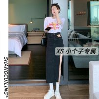 skirt Summer 2021 S M L XS Blue black Mid length dress commute High waist A-line skirt Solid color Type A 18-24 years old 9831# More than 95% other Shang Cuiling other Simplicity Other 100% Pure e-commerce (online only)