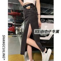 skirt Summer 2021 XS S M L Smoky grey Mid length dress commute High waist A-line skirt Solid color Type A 18-24 years old 9732# More than 95% other Shang Cuiling other Retro Other 100% Pure e-commerce (online only)