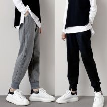 Casual pants Black w065 Plush pants, dark grey w065 Plush pants M,L,XL Winter 2020 trousers Natural waist thickening Other / other