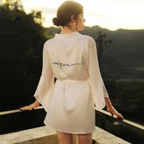 Pajamas / housewear set female Other / other S,M,L S67 white long sleeve, t64 white short sleeve, j74 black short sleeve other Long sleeves sexy pajamas summer Thin money V-neck Solid color double-breasted youth 2 pieces More than 95% silk One piece 200g and below Short skirt