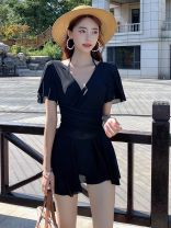 one piece  Other M,L,XL,XXL Skirt one piece Steel strap breast pad Nylon, spandex female Short sleeve Casual swimsuit Lotus leaf edge