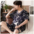 Pajamas / housewear set male Other / other 170(L),175(XL),180(2XL),185(3XL) Picture color other Short sleeve Simplicity pajamas summer shorts youth 2 pieces More than 95%