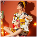 Pajamas / housewear set female Other / other one hundred and sixty ( M ), one hundred and sixty-five ( L ), one hundred and seventy ( XL ), one hundred and seventy-five ( 2XL ) Picture color cotton Short sleeve Cartoon Leisure home summer routine Crew neck Cartoon animation Socket youth More than 95%