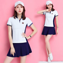 Sports suit Red with black 5-5, white with red 5-5, white with blue 5-5, bright yellow 5-6, bright red 5-6, royal blue 5-6, rose red 5-6 Chao Li ninghan female M,L,XL,XXL,XXXL,4XL Short sleeve Lapel shorts Socket Summer 2021 Sports & Leisure Sports life Cotton polyester pattern
