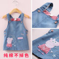 Dress female Other / other Polyester 85% cotton 15% spring and autumn leisure time Strapless skirt Cartoon animation Cotton denim A-line skirt Piggy suspender skirt Class B 2 years old, 3 years old, 4 years old, 5 years old, 6 years old, 7 years old, 8 years old Chinese Mainland