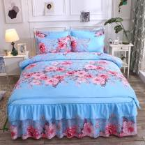 Bedding Set / four piece set / multi piece set cotton Quilting, other Plants and flowers 133x72 Other / other cotton 4 pieces 60 4-piece set for 1.5 bed, 4-piece set for 1.8 bed and 4-piece set for 2.0 bed Sheet type, fitted sheet type, bed cover type, bed skirt type Qualified products Simplicity