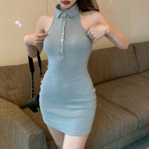 Dress Spring 2021 Grey, Navy, white S,M,L Short skirt singleton  Sleeveless commute Polo collar High waist Solid color Socket One pace skirt routine Hanging neck style 18-24 years old Type X Other Korean version Button, button Ao1153c More than 95% knitting polyester fiber