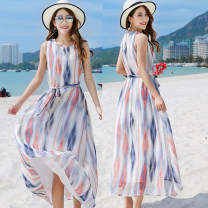 Dress Summer 2021 Picture color S,M,L,XL longuette singleton  Sleeveless Sweet Crew neck Loose waist Decor Socket other routine camisole 18-24 years old Type H Other / other 91% (inclusive) - 95% (inclusive) other