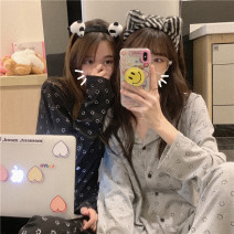 Pajamas / housewear set female Other / other Average size Black, gray other Long sleeves Cartoon Leisure home autumn routine Small lapel trousers Front buckle juvenile 2 pieces