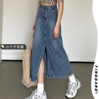 skirt Summer 2021 S M L XS Denim blue Mid length dress street Natural waist A-line skirt Solid color 18-24 years old 686# More than 95% Yinggang other Other 100% hippie