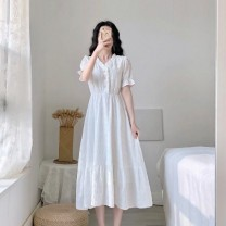 Dress Summer 2020 white S M L XL 2XL longuette singleton  Short sleeve commute V-neck Lotus leaf sleeve 18-24 years old Purple flowers and green snow Korean version Button More than 95% other Other 100%
