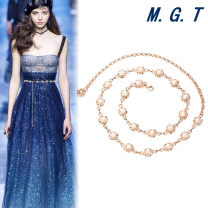 Belt / belt / chain other Sunflower pearl single row pearl double row Pearl female Waist chain Sweet Single loop a hook Flower design Glossy surface alloy Chain flower Rose terrace Pearl Series 4_ Gp9Cp Spring 2021