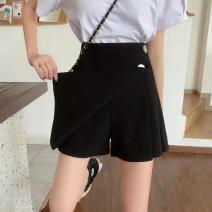 skirt Autumn 2020 M (90-106) 27, l (107-117) 28, XL (118-128) 29-30, 2XL (129-135) 13-32, 3XL (140-150) 33-34, 4XL (151-160) 35-36 Black skirt (skirt), Black Trouser skirt (Trouser skirt) Miniskirt commute High waist A-line skirt 18-24 years old 30% and below other other Asymmetric, button, solid