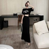 Fashion suit Summer 2021 S M L Grey top black top grey skirt black skirt grey Top + grey skirt black top + black skirt 18-25 years old Dream of Bobbie 81% (inclusive) - 90% (inclusive) cotton Cotton 100% Pure e-commerce (online only)