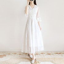 Dress Summer 2021 white S,M,L,XL longuette singleton  three quarter sleeve commute V-neck High waist Solid color Socket Big swing routine Others 18-24 years old Type X Retro Splicing 81% (inclusive) - 90% (inclusive) Lace polyester fiber