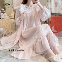 Nightdress gelato pique White, pink Average size Sweet camisole pajamas Middle-skirt autumn Solid color youth square neck cotton lace More than 95% pure cotton 240g