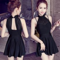 one piece  other S,M,L,XL black One piece flat corner swimsuit Steel strap breast pad female Sleeveless Casual swimsuit