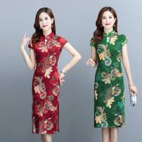 Dress Summer 2021 M,L,XL,2XL,3XL,4XL Miniskirt Short sleeve High waist other 30-34 years old 30% and below other