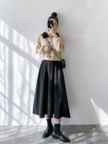 skirt Spring 2021 S,M,L Black wool medium length umbrella skirt, coffee wool medium length umbrella skirt longuette commute High waist Umbrella skirt Solid color Type A 25-29 years old Wool Splicing Korean version