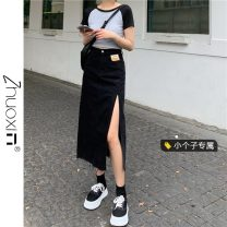 skirt Summer 2021 S M L XS Black light blue Mid length dress commute High waist Denim skirt Solid color Type A 18-24 years old 8027# More than 95% other Zhuoxin other Korean version Other 100% Pure e-commerce (online only)
