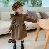 suit Other / other 3 months female spring and autumn Thin stripe Condom Class B Coffee color base coat + leather skirt, leather skirt, base coat (plush) + Leather Skirt (plush), plush leather skirt, black base coat + leather skirt 80cm,90cm,100cm,110cm,120cm,130cm