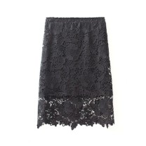 skirt Spring 2016 S,M,L,XL,2XL Big flower black long (60cm), big flower black short (45cm) Middle-skirt Sweet High waist Fluffy skirt Solid color Type H Lace Other / other 201g / m ^ 2 (including) - 250G / m ^ 2 (including) Ruili