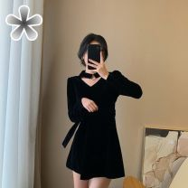 Dress Spring 2020 D44-n-black S,M,L,XL Short skirt singleton  Long sleeves commute V-neck High waist Solid color zipper A-line skirt routine Others 18-24 years old Type A Other / other Korean version other polyester fiber