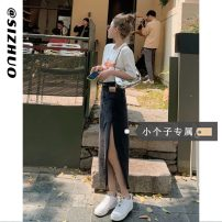 skirt Summer 2021 XS S M L Blue (Collection Plus priority delivery) black (Collection Plus priority delivery) Mid length dress commute High waist A-line skirt Solid color Type A 18-24 years old 5212-1 More than 95% Si Zhuo other Korean version Other 100% Pure e-commerce (online only)