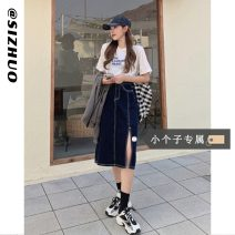 skirt Summer 2021 XS S M L Apricot (collection and purchase first delivery) dark blue (collection and purchase first delivery) Mid length dress commute High waist Irregular Solid color Type A 18-24 years old 9241# 31% (inclusive) - 50% (inclusive) other Si Zhuo cotton Old zipper Korean version