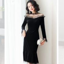 Dress Spring 2021 black S. M, l, XL, XXL longuette singleton  Long sleeves commute One word collar middle-waisted Solid color Condom A-line skirt routine Others 25-29 years old Type A One for one Hollow out, splicing, three-dimensional decoration 6350 71% (inclusive) - 80% (inclusive) other other
