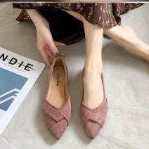 Low top shoes 35,36,37,38,39 Other / other Sharp point cloth Flat bottom Low heel (1-3cm) Shallow mouth PU Spring 2020 Trochanter Korean version Adhesive shoes Youth (18-40 years old) Solid color polyurethane Single shoes Shallow mouth PU