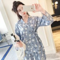Pajamas / housewear set female Other / other M,L,XL,XXL Rabbit, pineapple, pink stripe, kapok gray, fresh pollen, fresh flower blue, small fresh flower white, puppet, black and white stripe, white orchid, strawberry pink, strawberry blue, simple flower, feather cotton Long sleeves Sweet pajamas youth