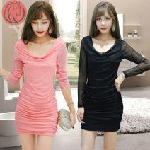 Dress Winter 2020 S,M,L,XL,2XL,3XL Short skirt singleton  Long sleeves routine bow