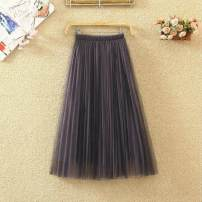 skirt Spring 2020 Skirt length: 68cm [double yarn + lining], skirt length: 78cm [double yarn + lining], skirt length: 88cm [double yarn + lining] It's apricot, grey, dark green, dark blue, dark grey, dark green commute High waist Pleated skirt Solid color Type A