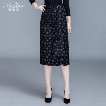 skirt Winter of 2019 M,L,XL,2XL,3XL,4XL Gray, black dots, black stripes commute High waist skirt Type H Wool Mona zima Ol style