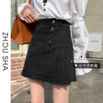 skirt Summer 2021 S M L XS Blue black Short skirt commute High waist Denim skirt Type A 18-24 years old 31% (inclusive) - 50% (inclusive) Zhesha cotton Button Korean version Cotton 50% other 50% Pure e-commerce (online only)