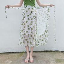 skirt Summer of 2019 Average size (80-130 kg) Versatile High waist Ruffle Skirt Broken flowers Type A 18-24 years old 65EF6806 Other / other polyester fiber
