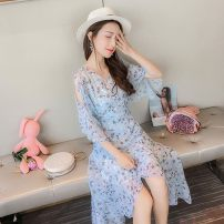 Dress Summer of 2018 Blue, pink S,M,L,XL Middle-skirt singleton  elbow sleeve commute V-neck High waist Decor Socket other routine Others 25-29 years old Type H Other Korean version printing More than 95% Chiffon polyester fiber